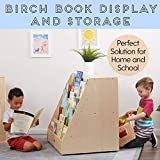 ECR4Kids Birch Book Display Stand with Storage with Rolling Casters, Double-Sided Hardwood Book Shelf Organizer for Kids, 5-Shelves with 2-Shelves, Mobile Display Stand for Classrooms and Home