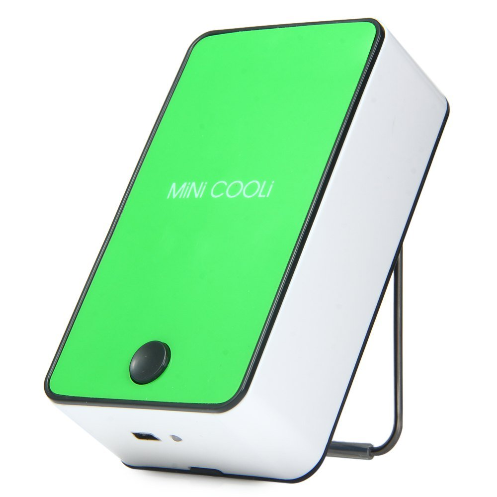 Wooboo Mini Cooli Portable USB Rechargeable HandHeld Air Conditioner Summer Cooler Fan,Batteries Powered No Leaf Fan for Kids (Green)