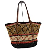 EROUGE Natural Chic Straw Bag Hand Woven Shoulder Bag Retro Summer Beach Bag Large Hobo Beach Bag
