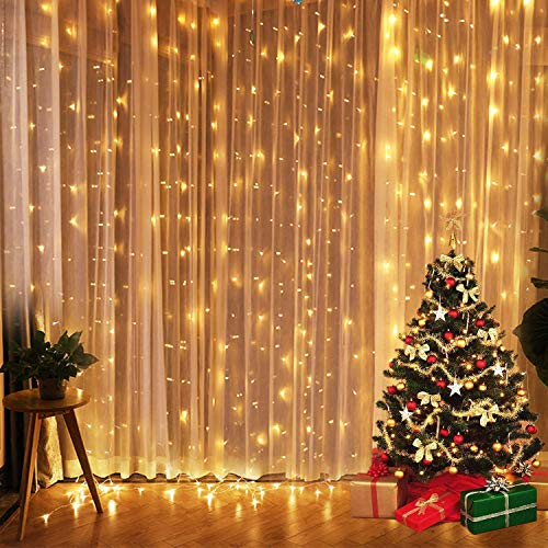 (Neretva 300 LED Window Curtain String Light, Twinkle String Fairy Lights, 9.8x9.8ft, 8 Modes Linkable,LED String Lights for Christmas Party Wedding Patio Lawn Garden Decorative Lights (Warm)