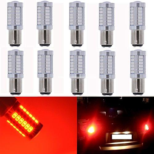 Base Bay15d - KaTur 10-Pack Red Super Bright 950Lums 1157 BAY15D 1016 1034 1196 2057 2357 Base 33 SMD 5050 LED Replacement for Car Incandescence Bulb RV Camper Brake Turn Lamp Lights DC 12V