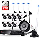 8 Channel Wireless Security Camera System NVR Video Surveillance System 720p Bullet Camera Night Vision Motion Detection 2TB Hard Drive for Indoor Outdoor