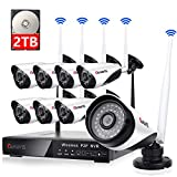 Cheap 8 Channel Wireless Security Camera System NVR Video Surveillance System 720p Bullet Camera Night Vision Motion Detection Backup 2TB Hard Drive for Indoor Outdoor