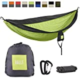 Rallt Double Camping Hammock - Ripstop Parachute Nylon - Lightweight Camping Wilderness Survival Gear - Green/Charcoal