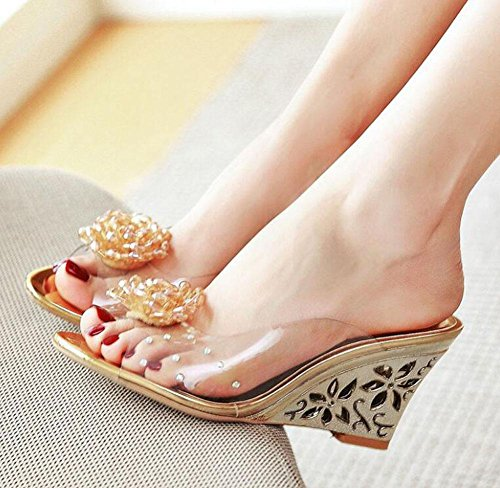 Toe Peep Transparent 40 gold Wedge Pump Women Slippers Heel Slippers Mule Size 43 High Simple Film Beaded Shaped 5Rqvxxw