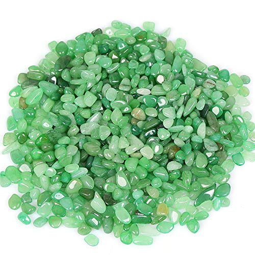 - yujianni 1 Pounds Crystal Tumbled Polished Natural Agate Gravel Stones for Plants and Crafts - Small Size - 7mm to 9mm Avg (Green)