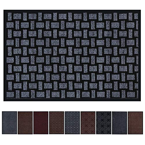 Premium Entrance Mat, Large Front Door Mat for Home and Business, 23 x 35 Inches Outdoor Indoor Entrance Doormat, Waterproof, Easy Clean, Non-Slip Heavy Duty Entry Mat (Dark Grey Slub - Inch Mats 35