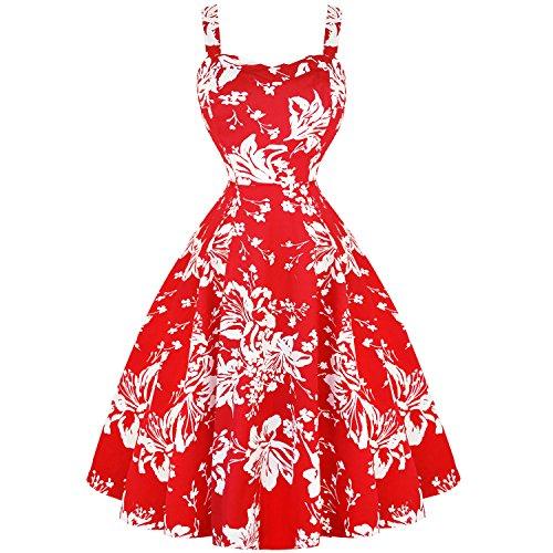 Jahre Sonnenkleid Blumenmuster Roses 1950s Retro Ausgestellt Vintage London Sommer Rot Weißes Hearts amp; W0pAa7FU