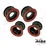Honda TRX 450R TRX 400EX ATV Set of 4 Wheels Rims Beadlock Rear 9x8 3+5 Front 10x5 3+2 Black / Red