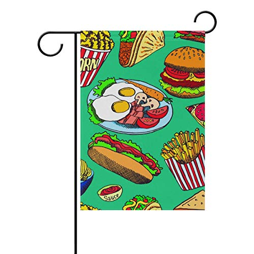GOOESING Double Sided Indoor Outdoor Garden Flag Hot Dog Burger Chips Fade Resistant Seasonal Holiday Decor Yard Flag 27.5x39.3 Inch. -