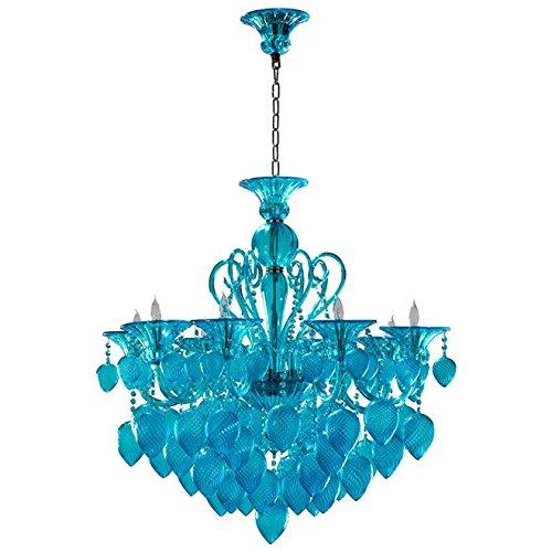Chandelier CYAN DESIGN BELLA VETRO Murano Italian 8-Light Aqua Chrome Gl