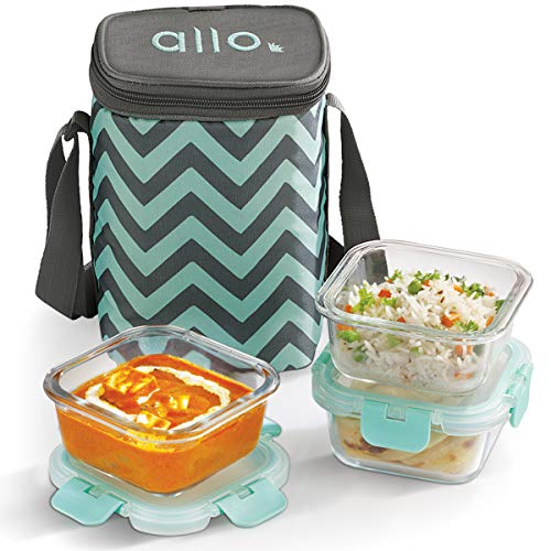Allo FoodSafe 310ml x 3 Glass Lunch Box with Break Free Detachable Lock | 450°C Oven Safe Microwave Safe High Borosilicate | Office Tiffin with Chevron Mint Bag | Set of 3, Square Price & Reviews