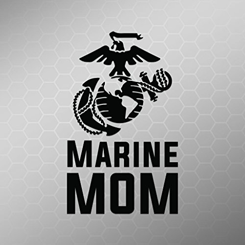 (Marine Mom Emblem Vinyl Decal Sticker   Cars Trucks Vans Walls Laptops Cups   Black   5.5 X 3 Inch   KCD1710B)