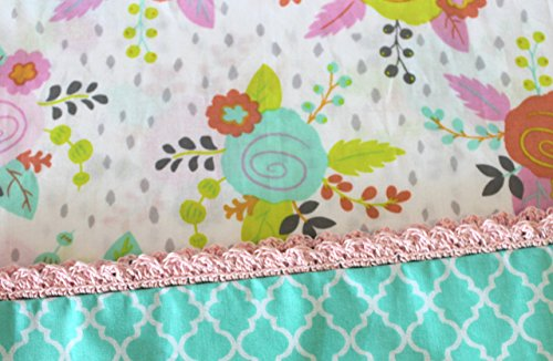 Standard Pillowcase With Crocheted Edge Floral Soft cotton fabric with a quatrefoil print as the hem. Finished off with pink hand crocheted edging. Re…