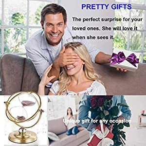 Metal Hourglass 60 Minute, 720° Rotating Vintage Brass Sand Timer, Large Purple Sand Watch 60 Min, Unique Reloj De Arena, Unity 1 Hour Glass Sand Clock for Gifts, Wedding, Home, Desk, Office Decor (Color: Antique Brass, Purple Sand, Tamaño: 60 min)