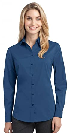 Port Authority® Ladies Stretch Poplin Shirt. L646 Moonlight Blue M