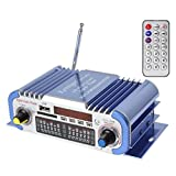DollaTek 2 Channels Hi-fi Mini Digital Motorcycle Auto Car Stereo Power Amplifier Sound Mode Audio Music Player Support USB/FM/SD for Car Motorcycle Car Auto CD DVD DC 12V Input - Blue