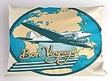 Ambesonne Airplane Pillow Sham, Bon Voyage Pop Art Retro Travel Tourism Map of Eurasia Africa Australia, Decorative Standard Size Printed Pillowcase, 26 X 20 inches, Cream Blue Teal White