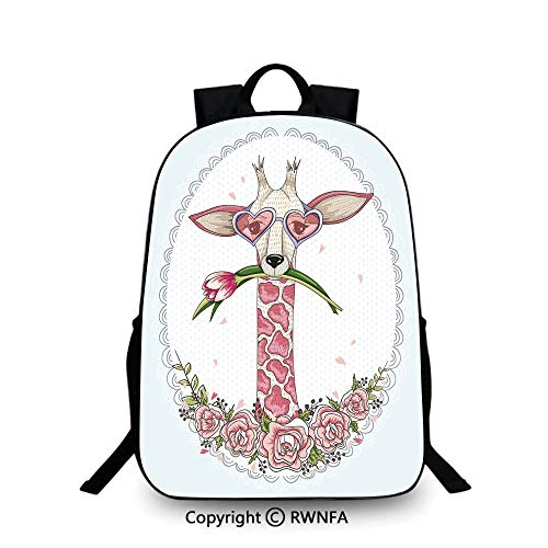 3D printing Customized school bag,Cute Hipster Giraffe with Tulip and Heart Shaped Glasses Vintage Frame Backpack Cool Children Bookbag, Baby Blue Light Pink