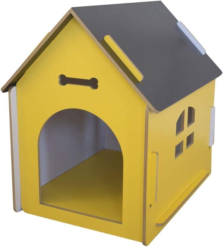 thematys Perrera de Madera para Perros I Casa para Perros para Uso Interior y Exterior I Lugar para Dormir a Las Mascotas I Resistente a la Intemperie y a los arañazos (XL (80 x 55 x 74 cm), Style 1)