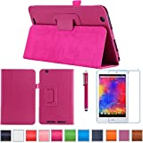 B1-810 Folio Case, AiSMei® Premium Leather Cover Stand With Stylus Holder for Acer Iconia One 8 B1-810 B1-810-11TV / B1-810-16NQ 8-Inch Android Tablet, Bonus Stylus+ Film -Rose Pink