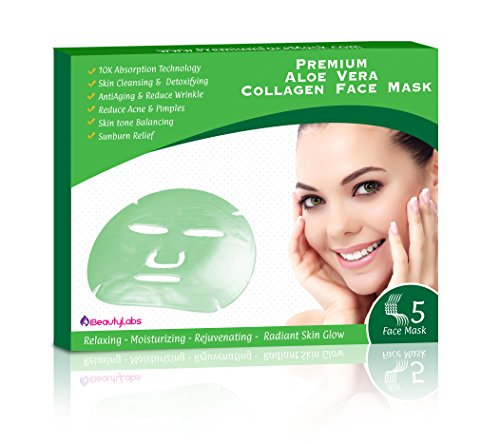 Price comparison product image All Natural Powerfull Aloe Vera Korean Collagen Face Mask for Instant Results | No Sticky Residue | Rejuvenate Your Skin And Acquire A Flawless Face