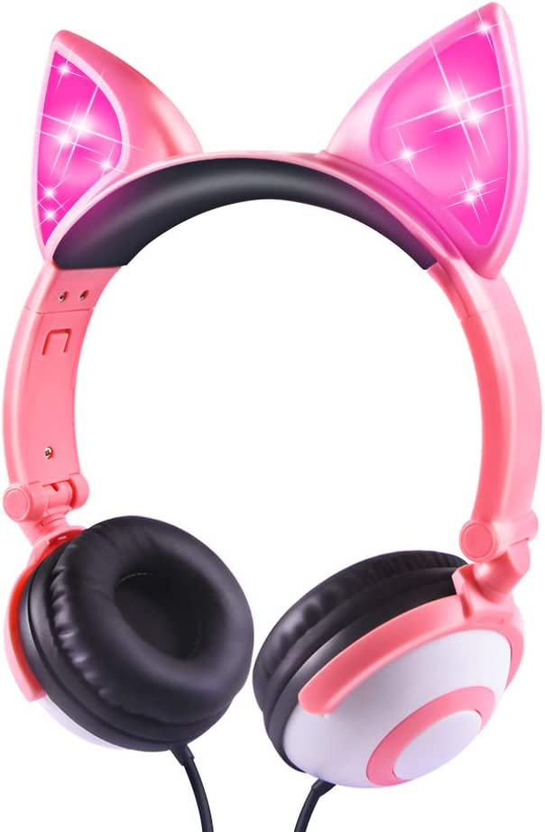 Kids Headphones, LOBKIN Wired Headphones for Kids, Cat Ear LED Light Up Adjustable Headband, Stereo Sound Headsets Childrens Headphones on Ear Pink
