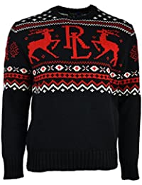 Polo Ralph Lauren Men\u0026#39;s Fair Isle Knit Crewneck Christmas Sweater Black Large