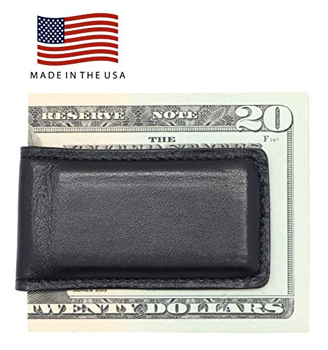 Black Nappa Calfskin Genuine Leather Money Clip - Magnetic - American Factory Direct - Money Holder - Made in USA by Real Leather Creations FBA267