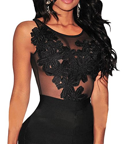 made2envy Floral Lace Sheer Mesh Bodysuit (M, Black) (Mesh Blazer)