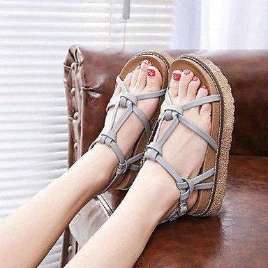Sandalias Primavera Verano Otoño PU Confort vestir casual talón plano gris marrón Gray