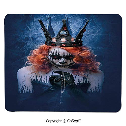 Non-Slip Rubber Base Mousepad,Queen of Death Scary Body Art Halloween Evil Face Bizarre Make Up Zombie,Non-Slip Water-Resistant Rubber Base Cloth Computer Mouse Mat (11.81