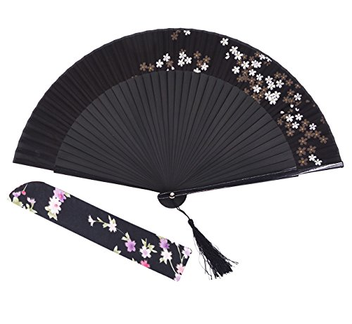 [Amajiji Charming Elegant Modern Woman Handmade Bamboo Silk Folding Pocket Purse Hand Fan.Chinese /Japanese Vintage Retro Style JNSZ(22cm)] (Mini Black And White Spanish Hat)