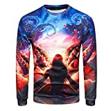 Mens T Shirts Clearance Sale vermers New Fashion Mens Long Sleeve O-Neck Sweatshirt 3D Printed Casual Tops Blouse(2XL, Multicolor)