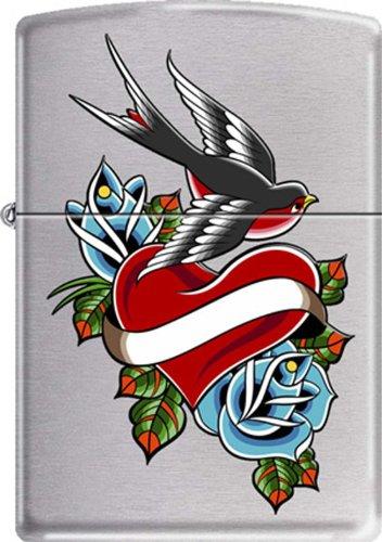 Heart Bird Flower Tattoo Art Design Chrome Zippo Lighter