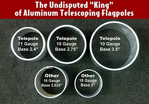 25' Telepole ''Superior 1'' Telescoping Flagpole - 2.75'' Base Diameter 10 Gauge Aluminum - Silver by Telepole
