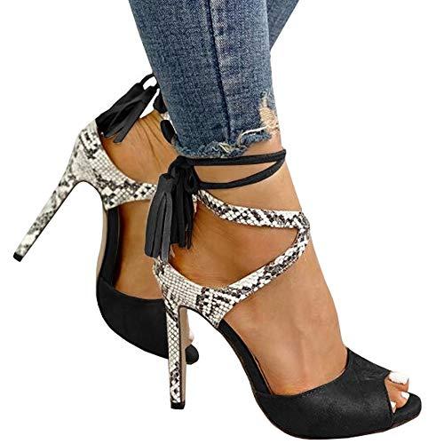 (Womens Peep Toe Platform Stilettos Pumps High Heels Strappy Lace Up Dress Sandals Shoes)