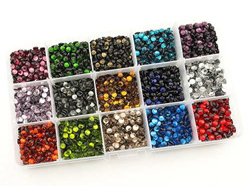 Summer-Ray SS20 5mm Assorted Color Hot Fix Rhinestones In Storage Box Set - Color Ray
