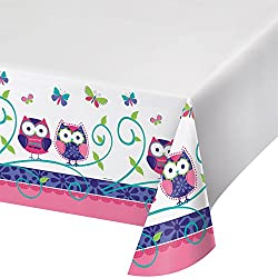 Plastic Banquet Table Cover, Owl Pal