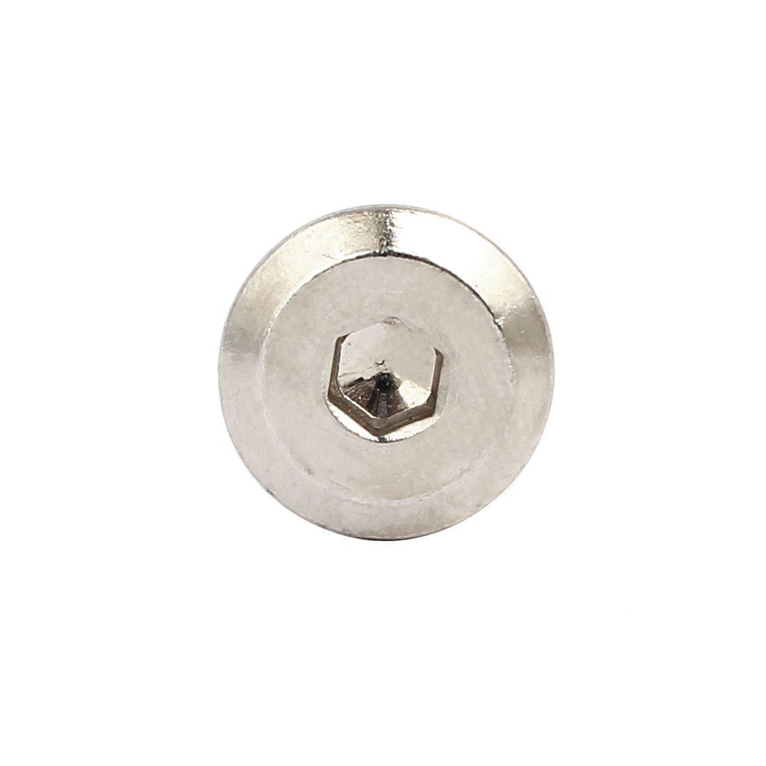 uxcell M6x30mm Male Thread Cupboard Hex Socket Head Screw Post Silver Tone 10pcs