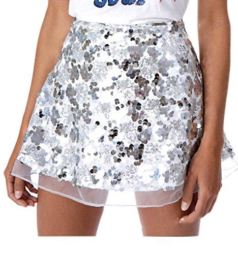 Engood Women's Sexy Sequins Cocktail Mini Skirt Club Dress White S (Fur Pencil Skirt)