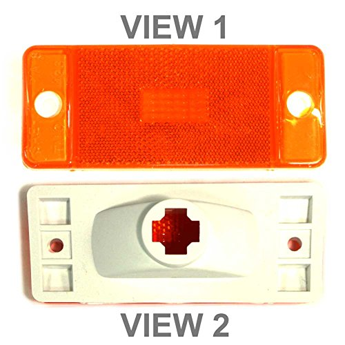 APDTY D5TZ15A201A Side Marker Light Lamp Housing Fits 1966-1977 Ford Bronco 1973-1974 Econoline Van 1973-1979 Full Size F-Series Flareside Pickup (Amber Color; Replaces D5TZ-15A201A, D5TZ15A201A) -