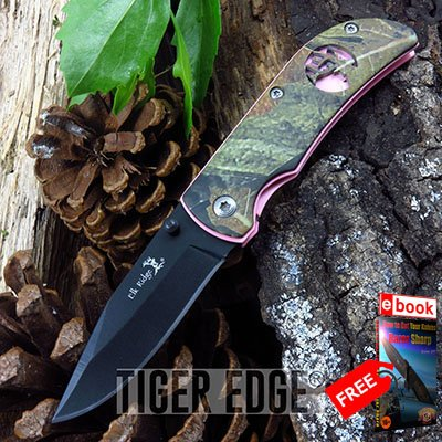 Elk Ridge Camo & Pink Girl Women Hunter Folding Knife + FREE eBOOK by MOON KNIVES