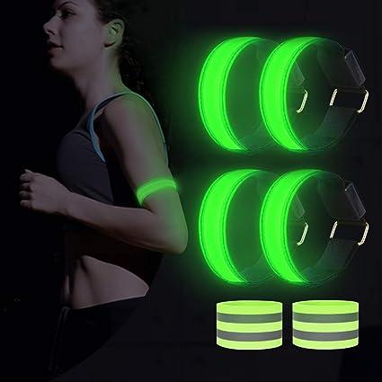Leuchtarmband Reflektorband Laufen Reflektor Arm Laufen Licht f/ür Handgelenk Bein Dusor LED Leuchtband Jogger Kn/öchel Lauflicht LED Reflektoren Joggen Sicherheitslicht Kinder