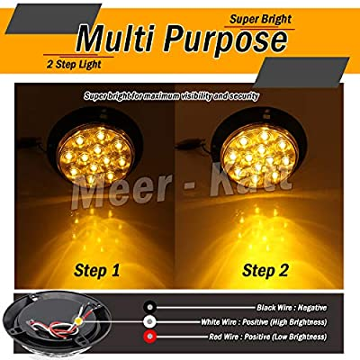 Meerkatt (Pack of 2) 4 Inch Round Amber Lamp Trailer Tail Light Turn Signal 12 Diodes Ultra Bright Flux F3 LED Durable Lorry Truck Caravan Bus Tractor Cabin Car Jeep 12V DC Shockproof GK12: Automotive