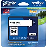 """Brother Genuine P-touch TZE-241 Tape, 3/4"""" (0.70"""") Standard Laminated P-touch Tape, Black on White, Perfect for Indoor or Outdoor Use, Water Resistant, 26.2 Feet (8M), Single-Pack"""