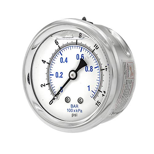 PIC Gauge PRO-202L-254B Glycerin Filled Industrial Center Back Mount Pressure Gauge with Stainless Steel Case, Brass Internals, Plastic Lens, 2-1/2