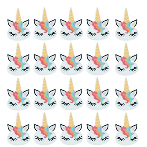 20 Pcs Cute Unicorn Head Charm Unicorns Slime Beads Resin Animals Flatback Art Album Flat Back Phone Scrapbooking Hair Clip Hairpin Sewing DIY Craft Accessory Jewelry Decoration Dollhouse Ornament
