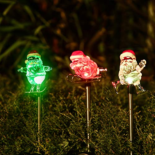 Obell Solar Garden Stake Lights – Set of 3 Chirstmas Lights Color Changing LED Wireless Solar Lights Outdoor Garden Decor for Fence Yard Pathway Flowerbed Driveway (Santa Claus) For Sale