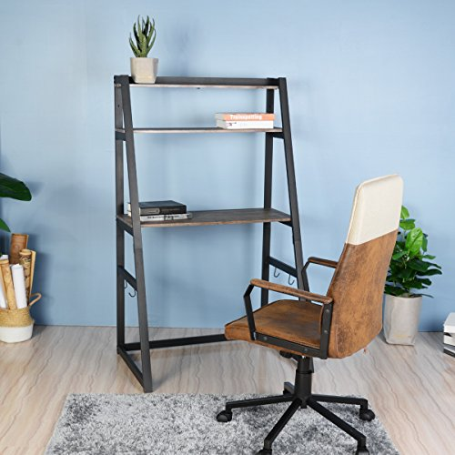 Aingoo Ladder Style Desk with Bookshelf,Small Desk with 2 Tier Bookcase, Perfect as Home Office Furniture, Dark Brown by Aingoo